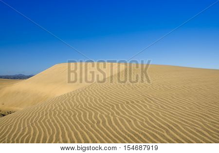 Maspalomas Dunes on the coast of Atlantic ocean on Gran Canaria Canary islands Spain