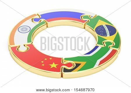 BRICS summit concept 3D rendering isolated on white background