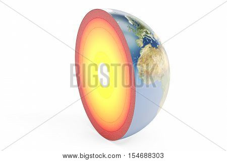 structure of earth planet 3D rendering isolated on white background