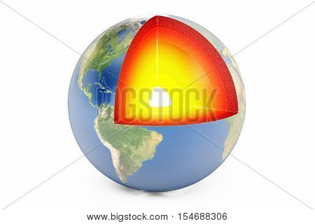 structure of earth planet concept 3D rendering isolated on white background