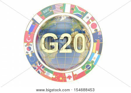 Summit G20 concept with globe 3D rendering isolated on white background