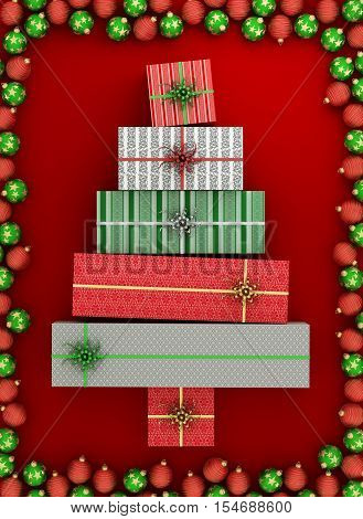 Wrapped gift boxes arranged as christmas tree, surrounded with red and green christmas balls on red background. 3d illustration.