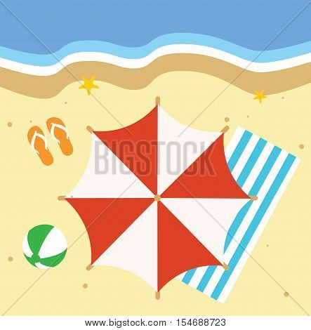 Beach Illustration With Many Different Elements - Summer Design Elements Illustration Flat Vector Stock