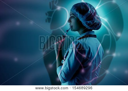 Collage on scientific topics. Young female doctor standing on heart background. Global wireless connection concept and research scientists