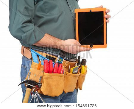 Mature Contractor And Notebook