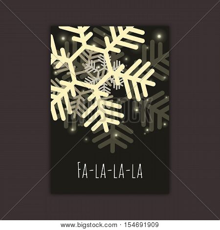 Vector snowflakes card concept. Winter 2017 Holidays celebration flyer template, funny text. Greeting Christmas poster, black gold colors, sparkles.