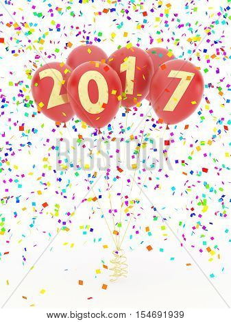 Red new year 2017 balloons under confetti rain on white background. 3d illustration.