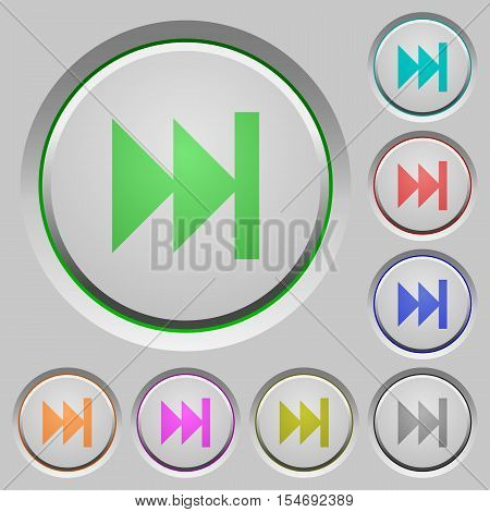 Media fast forward color icons on sunk push buttons