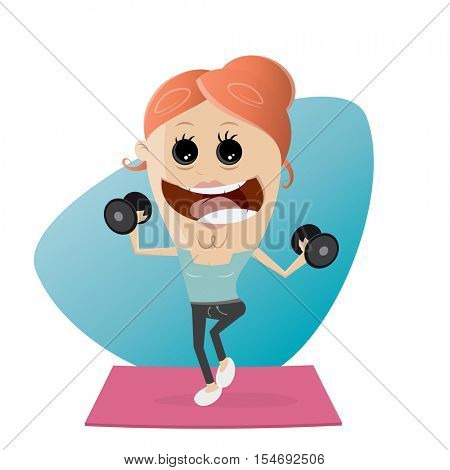 active fitness girl lifting weights