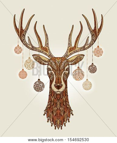 Decorative christmas deer with ornament and decoration balls