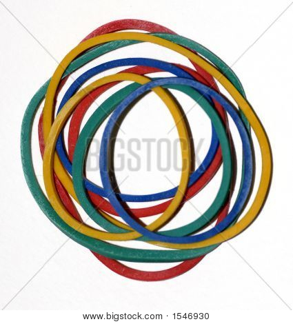 RED YELLOW BLUE AND GREEN ROUND ELASTIC BANDS poster