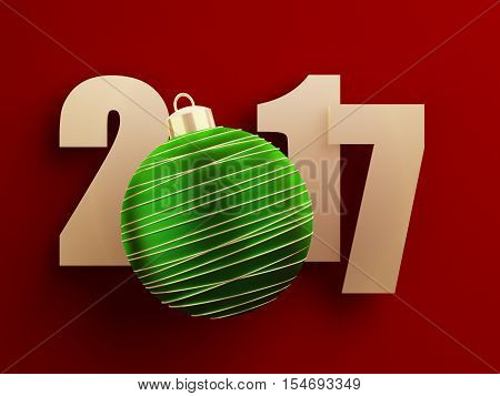 Golden 2017 text on red background with green christmas ball. 3d rendered illustration.