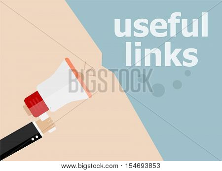 Useful Links. Hand Holding A Megaphone. Flat Style