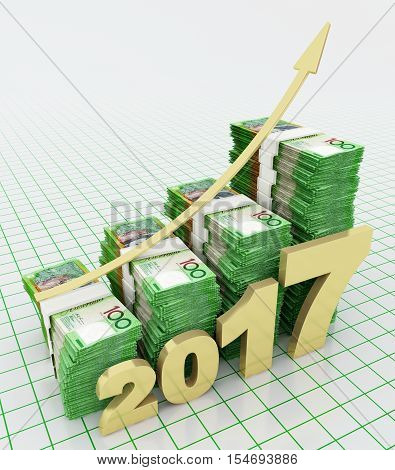 Increasing value of Australian currency in 2017. 3d rendering.