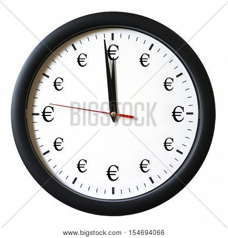 An isolated clock that represents how time is money.