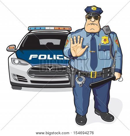 A police officer and car