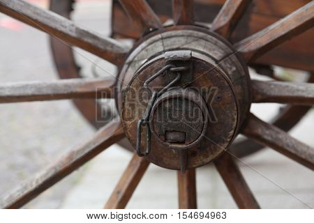 a closeup of the old wheel from the coach