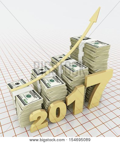Increasing value of American dollar in 2017. 3d rendering.