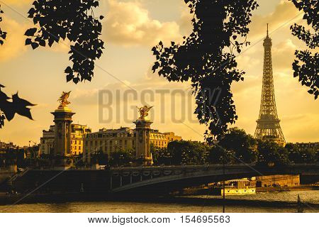 View of Paris from beside river Seine