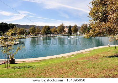 View of a duck pond at a city park in Temecula, California.