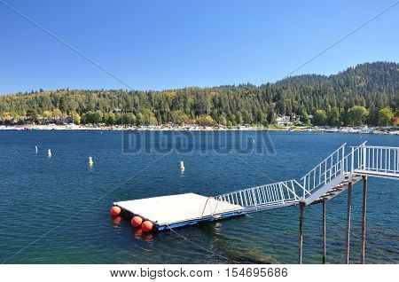 An empty water ski platform is seen at Lake Arrowhead in Southern California.