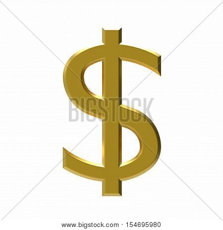 Symbol of US dollar US currency 3D rendering
