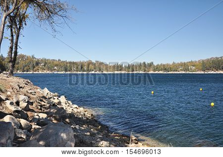 Shoreline view of Lake Arrowhead in Southern California.