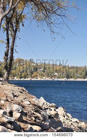 Shoreline view of Lake Arrowhead in Southern California.