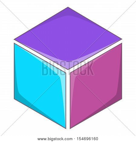 Colorful cube icon. Cartoon illustration of cube vector icon for web design