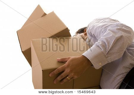 a businessman holding a pile of package parcels (isolated on white)