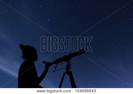 Woman with astronomical telescope. Starry night Constellations Ursa Major Ursa Minor Draco Starry night Dark sky