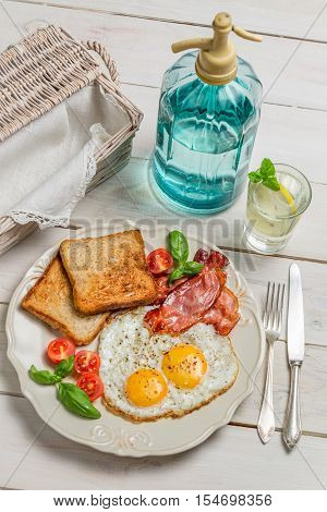 Eggs, Toast And Bacon For A Summer Breakfast