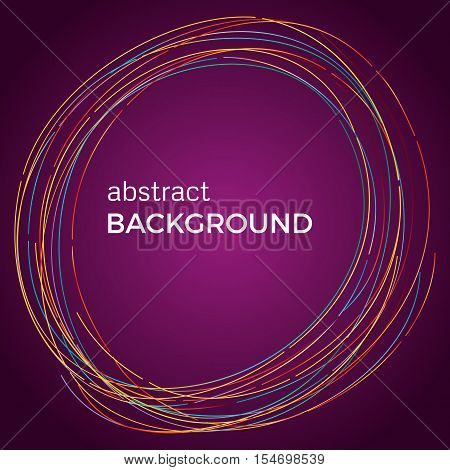 Beautiful light circles on a purple background. Abstract flash light circles. Vector technology background.
