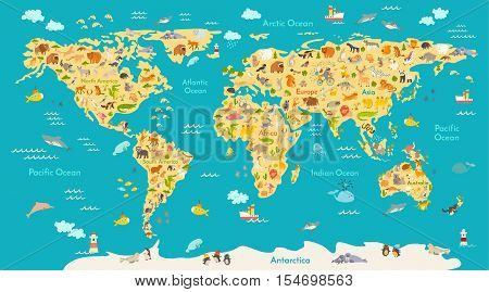 Animal map for kid. World vector poster for children cute illustrated. Preschool cartoon globe with animals. Oceans and continents.