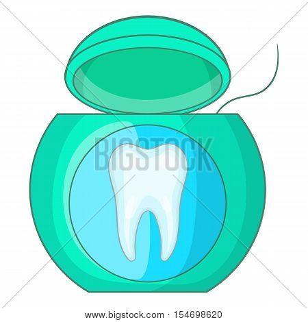 Dental floss icon. Cartoon illustration of dental floss vector icon for web design