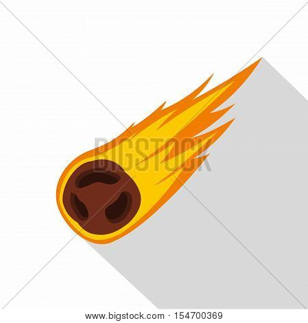 Flame meteorite icon. Flat illustration of flame meteorite vector icon for web isolated on white background