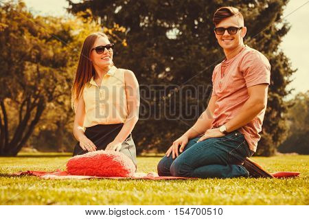 Cheerful Affectionate Couple On Picnic.