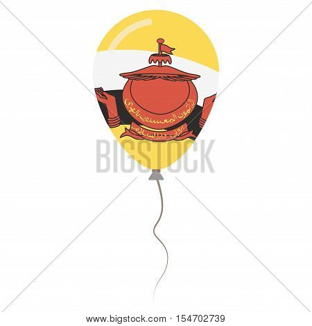Nation Of Brunei National Colors Isolated Balloon On White Background. Independence Day Patriotic Po