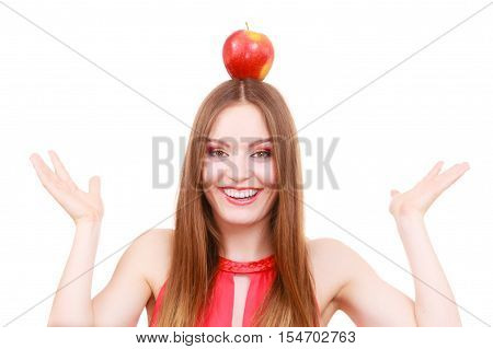 Beautiful Woman Holds Apple Fruit On Head
