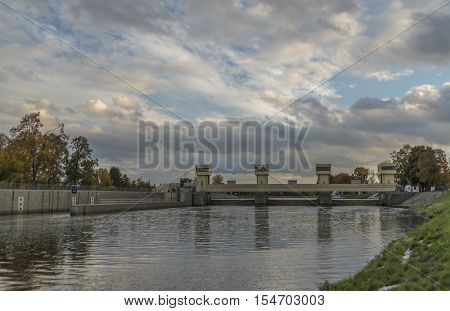 Lock chamber on river Vltava in Hluboka town in autumn time
