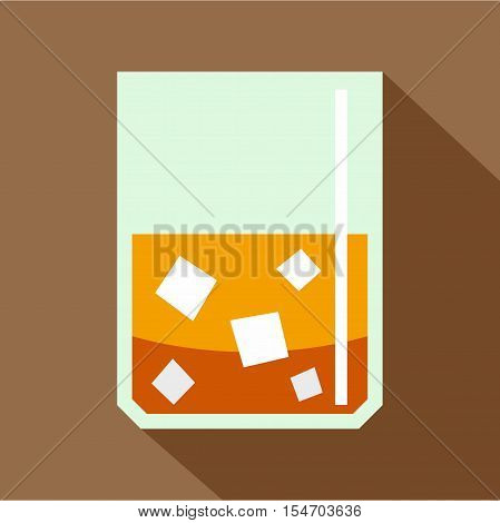 Glass of scotch whiskey and ice icon. Flat illustration of glass of scotch whiskey and ice vector icon for web isolated on coffee background