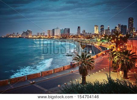 Night view of Tel Aviv, Israel. Vintage retro effect