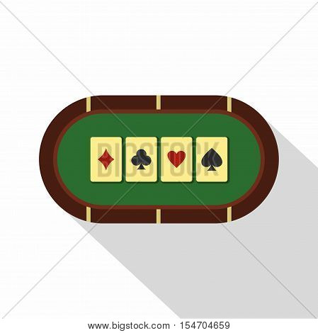 Green poker table icon. Flat illustration of poker table vector icon for web isolated on white background