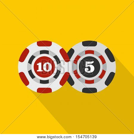 Poker chips nominal five and ten icon. Flat illustration of poker chips vector icon for web isolated on yellow background