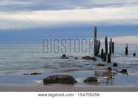 Jetty Ruins Prior To Sunset - Port Willunga, South Australia At Sunset