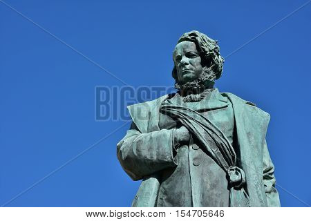 Daniele Manin italian and venetian patriot during the revolt against Austrian empire in 1848. Bronze statue erected in 1875 in the historic center of Venice (with copy space)