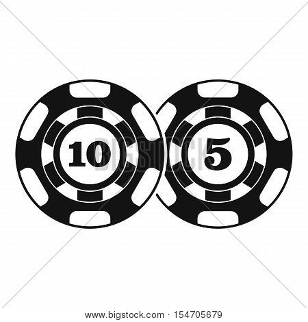 Poker chips nominal five and ten icon. Simple illustration of poker chips nominal five and ten vector icon for web