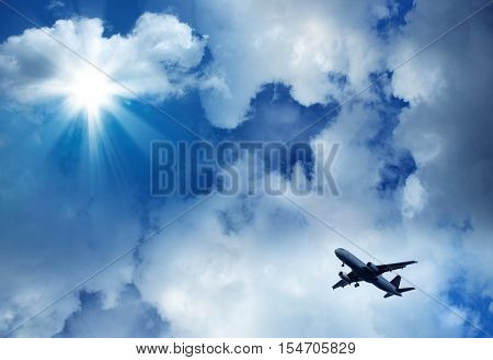 an image of blue sky and aircraft