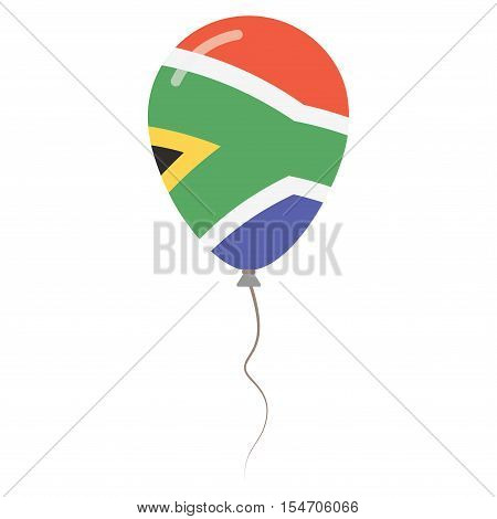 Republic Of South Africa National Colors Isolated Balloon On White Background. Independence Day Patr