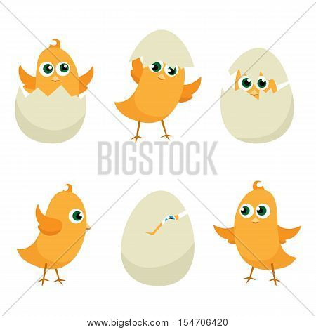 Easter eggs chicks set. Easter background. Graphic illustration